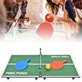 Juego de mesa de ping pong plegable, mini mesa de juego de tenis compacta y multiuso porttil con red para salas de juegos familiares/uso interior/exterior/entretenimiento familiar