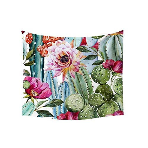Wall Tapestry Tropical Desert Plant Cactus Wall Tapestry Watercolor Saguaro Wall Hanging Art for Home Decor Style-1 for Vacation