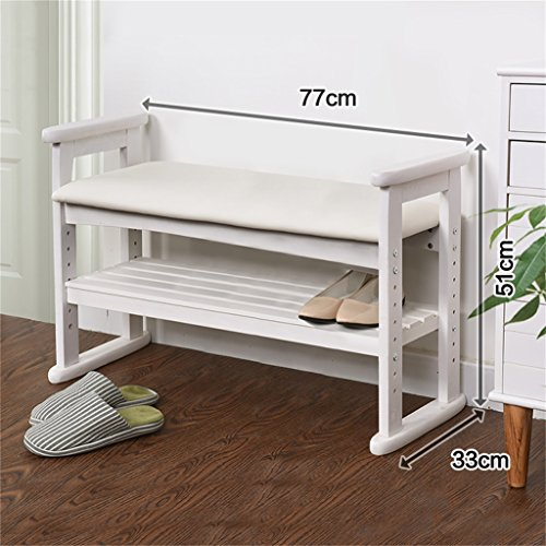 MS stoor Wooden Change Shoe Stool Foot Stool Upholstered Footrest Bench Shoe Storage Bench With Seat Cushion Ottoman Hallway Bench Shoes Rack @ (Color : White, Size : 77CM33CM51CM)