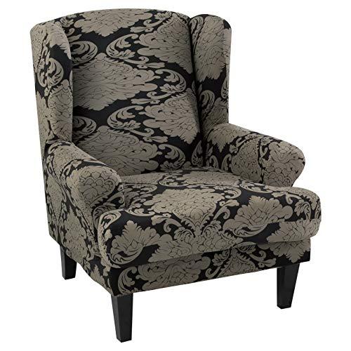 papasgix Ohrensessel Schonbezug, Elastische Sesselbezug Sesselüberwurf Sofaüberwurf Stretch Schutzhülle mit Modern Muster Sessel Husse für Ohrensessel (B-Schwarzbraune Streifen)