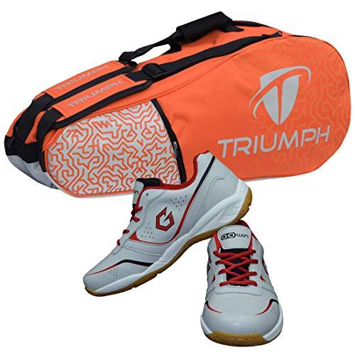 Gowin Badminton Shoe Smash Grey Size-12 Kids with Triumph Badminton Bag 303 Orange/Grey