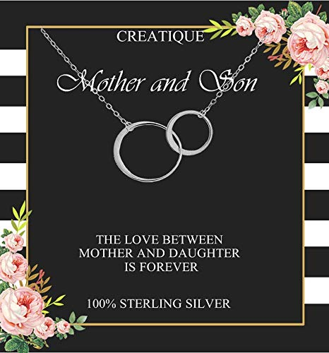 Mother Son Necklace, Mother and Son Necklace, Mothers Day Jewelry from Son, Sterling Silver, mother son gifts, Mom and Son, Mother's day gifts for mom from son, mother's birthday gifts… (SMN-SILVER)