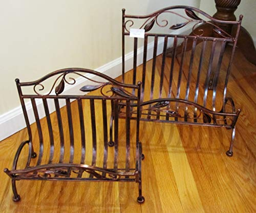 2 Piece Set Antique Style Leaf Desgin Brown Matel Book Magazine Paper Rack Holder