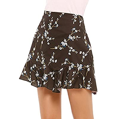 Chigant Women's Elastic Waistband Floral Print Flared Pleated Casual Mini Skirt