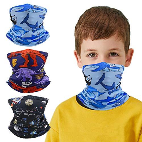 Neck Gaiter Bandana Girl Boy, Magical Multi Function, Child Hiking Half Face Protective Balaclava, Kids Dinosaur Breathable Mask Headwear, Infinity Scarf, Safety Head Cover,Toddler Headgear