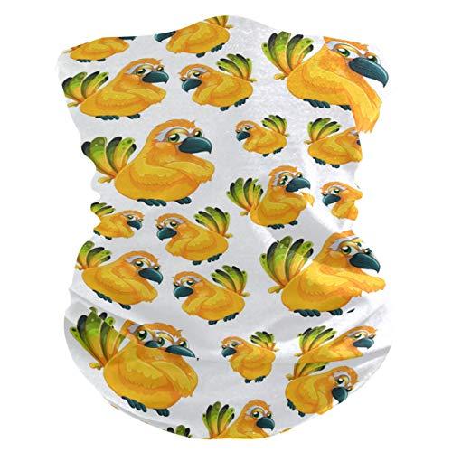 Stoff-Gesichtsmaske für Damen, multifunktional, Bandanas, Schnittmuster, Unisex, gelbes Papageien-Muster, bedruckbar, für Herren und Damen, Kopfbedeckung, Gesichtshandtuch, waschbar