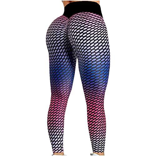 Mujeres Pantalones Deportivos de Impresión de Puntos Leggings de Costura Transpirables Elásticos Leggins Push Up de Cintura Alta Mallas de Deporte para Correr Gym Fitness Pantalón de Yoga