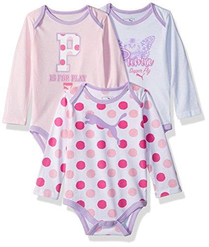 PUMA Baby Girls' Three Pack Bodysuit Set, Cherry Blossom, 3-6 Months
