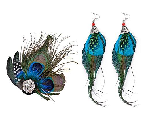 Peacock Feather Fascinator, Fascigirl Hair Clip Feathers Fascinator Boucles d'oreilles Set