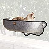 K&H PET PRODUCTS EZ Mount Thermo-Kitty Heated Window Bed Extra-Deep Gray 27 X 10 X 11 Inches