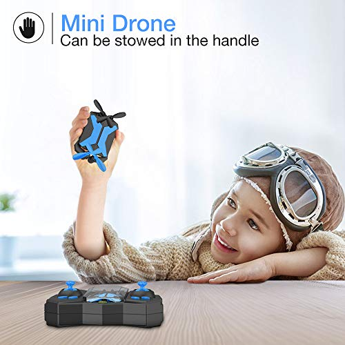 Drone for Kids - Drones with Camera for Kids, AR Game Mode RC Mini Drone w App Gravity Voice Control Trajectory Flight Altitude Hold 360°Flip Kids Drone Foldable and Portable-Blue
