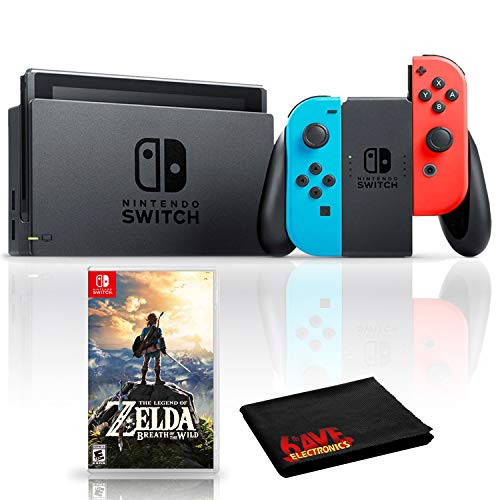 Nintendo Switch with Neon Blue and Red Joy-Con Bundle with The Legend of Zelda: Breath of the Wild