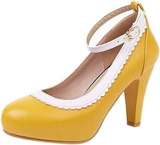 AbbyAnne النساء مضخات عالية الكعب الحلو القوس أحذية مخروط الكعوب الانزلاق على حفل الزفاف اللباس الأحذية منصة الأصفر الحجم ...