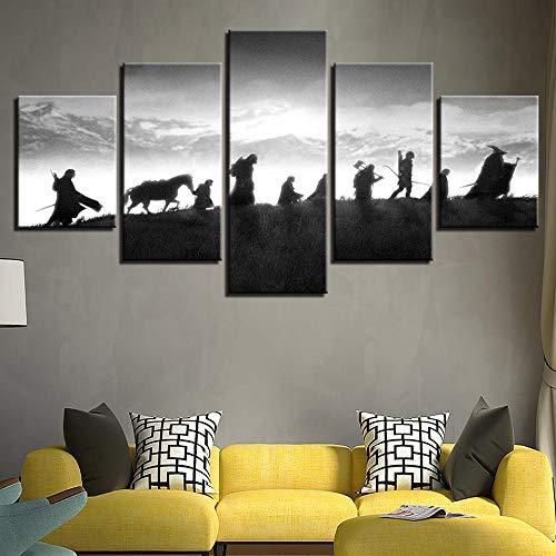 Tableau imprimé XXL, Tableau 5 Parties Toile Murale Decor, Tableau Deco, Canvas 150x80 cm,Films du Seigneur des Anneaux HD imprimée Affiche