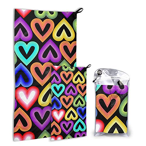 Lsjuee Rainbow Hearts Quick Dry Towel for Home Gym, Beach, Sports, Camping and Travel, 2 in 1 - Smaller Hand Towel Included
