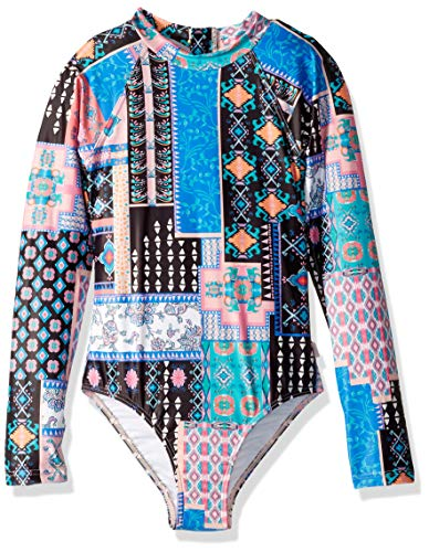 Seafolly Girls' Big Long Sleeve One Piece Swimsuit with Zip Back, pop Palace Multi, 14