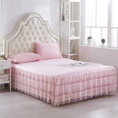 ZXYY Beddrok van kant met ruches op poeder, sprei voor bedden met 17 cm (7 inch), decoratief, Queen-King Bedroom bed, 150 x 200 cm (59 x 79 inch)