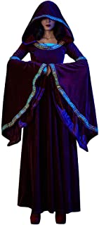LODDD Women Halloween Cosplay Costume Vintage Witch Long Sleeve Hodded Maxi Dress