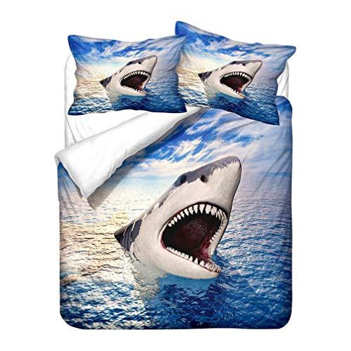 WENYA Microfibra Juego de Cama de Azul Animales Marinos 3D Tiburón Mar Funda Nórdica y Funda de Almohada Suave y Transpirable Funda de Edredón con Cremallera (Estilo 2, 220x240 cm - Cama 150 cm)