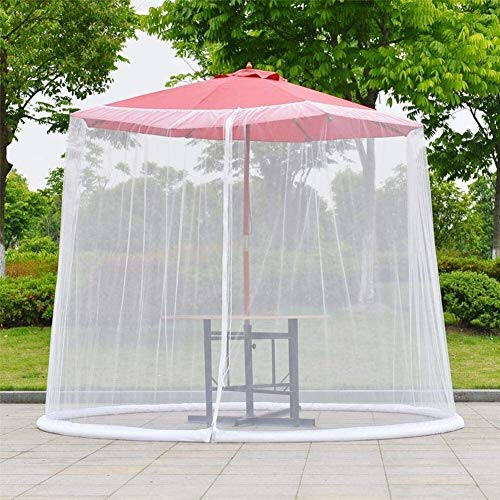 REWD Mosquito Netting Screen Zippered Mesh Enclosure Cover Fits Umbrellas and Patio Table - Excluding Umbrella and Foundation (Color : White)