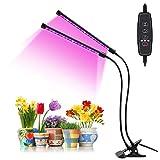 OVAREO Pflanzenlampe LED,Pflanzenlicht Pflanzenleuchte mit 3/9/12H-Timer,Rot/Blau 3 Lichteffekt Schalter,9 dimmbare Ebenen, 360° Verstellbarer Vollspektrum,Wachstumslampe für Zimmerpflanzen (2 Pack)
