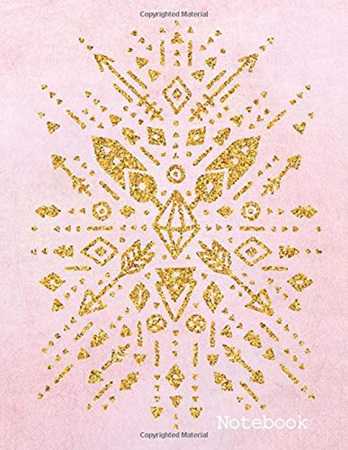 認識ブリード漏斗Notebook: Pink & Gold Southwestern Design College Ruled with Lined Pages (Composition Book, Journal) (8.5 x 11 Large)