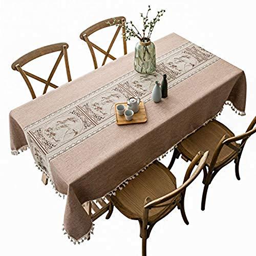 PENGXIN Manteles de mesa rectangulares de lino y algodón, sin arrugas, con borlas, lavables para cocina, comedor, fiesta, 140 x 270 cm