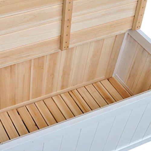 Gartenbank und Kissenbox Eden, Garten Parkbank Sitzbank Truhenbank Flurbank, aus Holz mit Speicherraum für Zuhause Garten & Balkon Weiß 126 x 42 x 75 cm (B x T x H) - 2