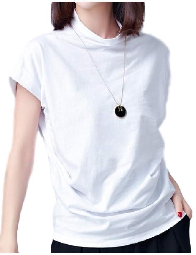 成り立つ小学生ポーター[フローライズ] ゆったり 楽ちん 細見え 抜け感 ドレープ ボトルネック カットソー Tシャツ 半袖