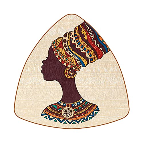 6 uds Posavasos de café de Triángulo Posavasos de Barra Resistentes al Calor Copa para el hogar o la Barra Mujer Africana en una Cabeza de Turbante