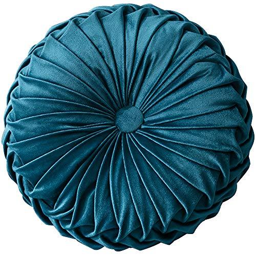 Leeko - Cojín de terciopelo suave decorativo redondo calabaza decorativa plisada cojín de suelo relleno Auto sofá cojín para comedor, salón, terraza, jardín, oficina, cafetería, tienda
