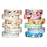 Yubbaex Washi Tape Set cinta adhesiva decorativa Washi Glitter Adhesivo de Cinta Decorativa para DIY Crafts Scrapbooking 24 Rollos x 5MM De ancho