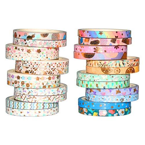 Yubbaex Washi Tape Set cinta adhesiva decorativa Washi Glitter Adhesivo de Cinta Decorativa para DIY Crafts Scrapbooking 24 Rollos x 5MM De ancho