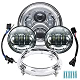 VZ4X4 7 inch LED Headlight Fog Passing Lights DOT Kit Ring Motorcycle for Harley Davidson Touring Road King Ultra Classic Electra Street Glide Tri Cvo Heritage Fatboy Softail Slim Deluxe Chrome