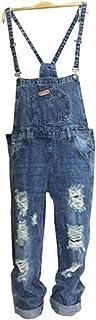 レディース 大きいサイズ デニム クラッシュ サロペット ダメージ オールインワン オーバーオール パンツ ジーンズ ボトムス 春 夏 女性 大人 カジュアル キュート 可愛い おしゃれ ネイビー S M L XL 2XL 3XL サイズ