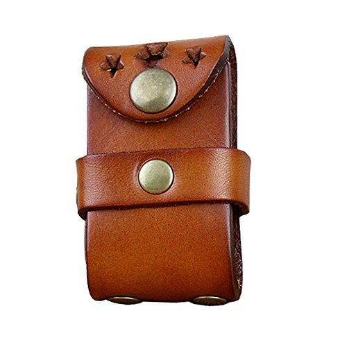 Boshiho - Funda para hombre de piel de vacuno con cierre para cinturón (bronceado)