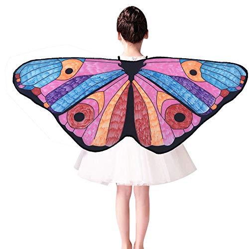 VEMOW Heißer Verkauf Mode Cosplay Party Chmetterling Kostüm Kinder Kind DIY Schmetterling Kap Flügel Kreative Engelsflügel Dress up Karneval Kostüm(E, 118x48CM)