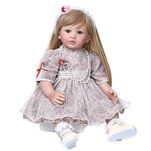 60CM da Collezione Bambola Principessa Reborn Toddler Girl Doll con Ultra Lunghi Capelli Biondi Bambola Fatti A Mano Bambola di Stoffa Corpo di Compleanno Regalo di Natale