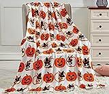 Happy Halloween Microplush Throw Blanket (50' x 60') - Cats & Pumpkins