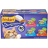 Purina Friskies Canned Cat Food Pate Variety Pack, Seafood & Chicken Pate Favorites, 5.5 Oz (Pack of 40)