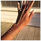 Olbye Finger Ring Bracelet Gold Slave Bracelet Hand Chain Dainty Finger Wrist Bracelet Everyday Jewelry for Women and Teen Girls