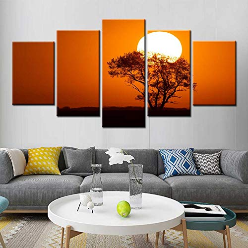 KWzEQ Moderne Leinwandmalerei Wandkunst 5 Panel Poster Sonnenuntergang Baum Landschaft für Wohnzimmer Hauptdekoration,Rahmenlose Malerei,30x40cmx2, 30x60cmx2, 30x80cmx1