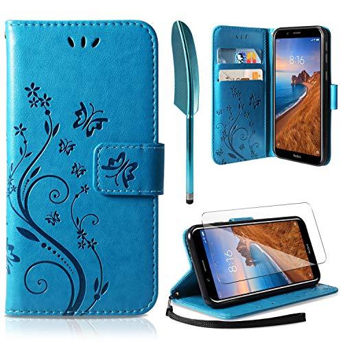 AROYI Funda Xiaomi Redmi 7A, Relieve Dibujo Carcasa de Tipo Libro Soporte Plegable Ranuras para Tarjetas Magnético Ultra-Delgado Carcasa Case para Xiaomi Redmi 7A, Azul