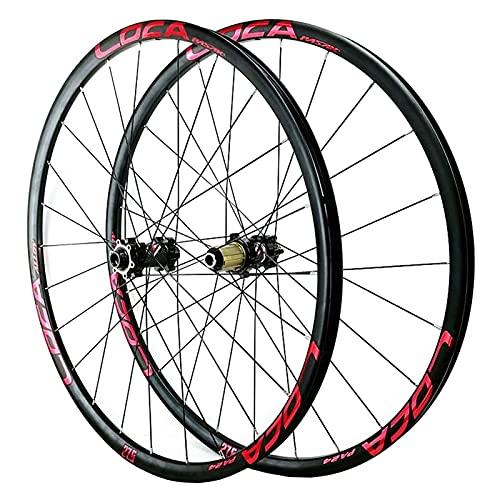 ZFF Oksmsa Bicicleta Delantera y Rueda Trasera Freno Disco 26/27.5/29 Pulgadas Llantas Aleación 8-12 Velocidad Montaña Juego Ruedas para Bicicleta Ultra-Ligeras (Color : Red, Size : 26in)