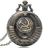 ZHTY Montre de Poche de Style Antique Faucille soviétique avec Collier chaîne de noël Meilleur Cadeau pour Hommes Femmes décorer