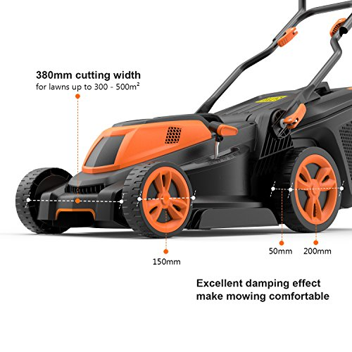 TACKLIFE Lawnmower, 1600W Electric Lawn Mower, Cutting Width 38cm, 6 Lever of Cutting Height, Foldable Handle…