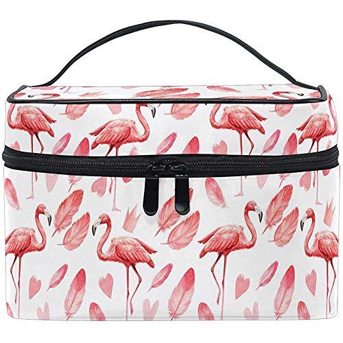 Flamingo Birds Trousse de Maquillage de Toilette Brosse Train Animal Cartoon Pattern Zip Transportant Portable Storage Pouch Bags Box