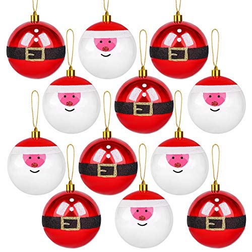 Elcoho 12 Pack Novelty Christmas Balls Ornament Shatterproof Santa Figure Tree Balls Decorations for Holiday Wedding Party Decoration