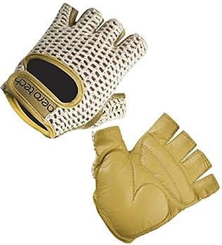 AERO|TECH|DESIGNS ATD Gel Padded Leather Cotton Crochet Fingerless Cycling Gloves  XX-Large
