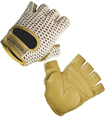 ATD Gel Padded Leather Cotton Crochet Fingerless Cycling Gloves (Large)